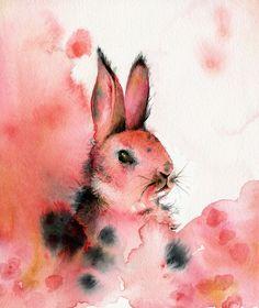 Honeysuckle-pink rabbit by Amber Alexander