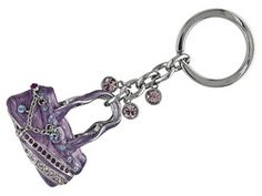 Purple Color Enamel And Swarovski Crystals Round, Silver Tone Handbag Key Chain