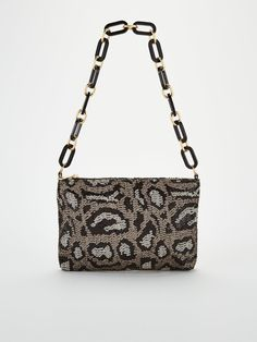 V By Very Sequin Chain Strap Bag - Leopard, Pewter, Women - Pewter - B Cup, Leopard Spots, High Leg Boots, Long Toes, Snug, Calves, Sequins, Shoulder Bag, Chain