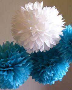 Tissue Paper Pom poms Set of 3   Sea Decor   by PomGarden on Etsy, $11.00