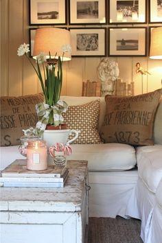 sofa . white . brown . warm palette . cushions . decoration . interior design . living room . hessian