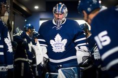 TORONTO, ON - FEBRUARY Frederik Andersen of the Toronto Maple Leafs heads to ice to warmup before facing the New York Islanders at the Air Canada Centre on February 2017 in Toronto, Ontario, Canada. (Photo by Mark Blinch/NHLI via Getty Images) Maple Leafs Hockey, Air Canada Centre, Nhl Games, M Photos, New York Islanders, Toronto Maple Leafs, Hockey Players, Ice Hockey, February 14