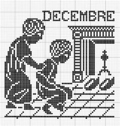 Month 12 | Free chart for cross-stitch, filet crochet | Chart for pattern - Gráfico