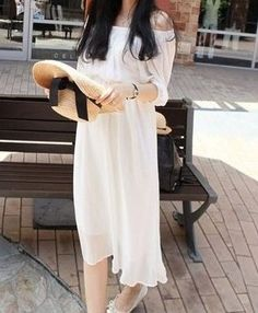 White Chiffon Beach Dress $28