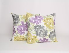 18x18 Throw Pillow Set of 2 Gray Purple and Yellow Floral Pillow PAIR 18 x 18 Cushion Cover in Purple Yellow and Gray on Cream Pillow Sham - $36