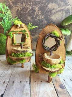 This enchanting fairy sink is handmade of natural materials and has a twig framed mirror. The sink is made of a nut shell and the faucet is a twig. Soft green moss and acorns give it a woodland feel. The sink measures 4 1/2 high, 2 1/2 - 3 wide and 2 1/2deep. Each sink will vary slight due to being handcrafted. Please choose your round or square mirror when ordering. This fairy sink is for outdoor or indoor use:)