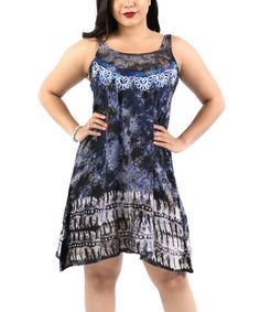 This Blue Embroidered Abstract Sleeveless Dress - Plus is perfect! #zulilyfinds