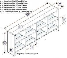 Gratis stappenplan bouwtekening voor een steigerhout vakkenkast televisiemeubel om zelf te maken.