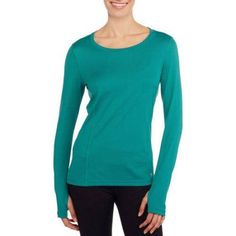 Danskin Now Women's Active Long-Sleeve Performance Tee with Mesh Details, Size: Small, Blue