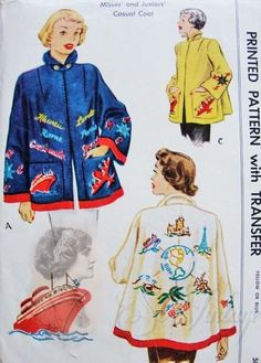 """Vintage 1950s McCall 1565  Felt Swing Back Box Coat Swing Jacket Travel-Wise Color Motifs Transfer For Embroidery Sewing Pattern Bust 32"""" by bizzielizzies on Etsy"""