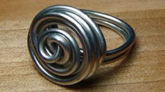 Swirl Wire Ring made from a clothes hanger - JEWELRY AND TRINKETS
