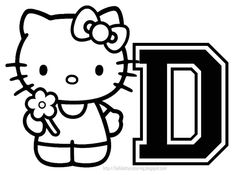Personalized Coloring Sheet Hello Kitty Initial 28329