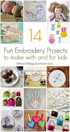 14 Fun Embroidery Projects for Kids, perfect for beginners! | Little Worlds Big Adventures