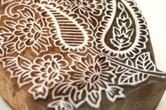 Indian Wooden Textile Block - Paisely and Floral