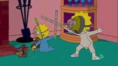 Lisa: (fencing with Maggie, grunting) Thrust! Parry! Dodge! Poke! Come on, Maggie. I need to get good at fencing so I can put it on my resume and get into Yale.