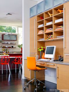 Home office with built-in hutch and additional storage cabinets. See more home decor ideas and trends at http://bhgrelife.com/home-inspiration-design-trends-ideas/