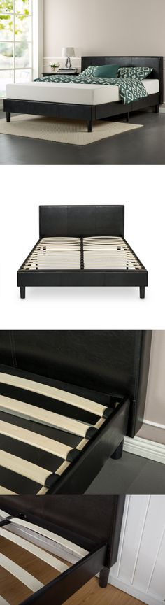 beds and bed frames zinus faux leather upholstered platform bed with wooden slats