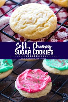 Soft, chewy sugar cookies are the perfect treat for any occasion. This no-chill dough recipe is super easy and results in the perfect drop sugar cookie. You can either roll them in sugar or frost them with my favorite Sugar Cookie Frosting that hardens. Drop Sugar Cookie Recipe, Amish Sugar Cookies, Drop Sugar Cookies, Drop Cookie Recipes, Sugar Cookie Frosting, Cookies Soft, Cream Cookies, Baking Cookies, Cake Cookies