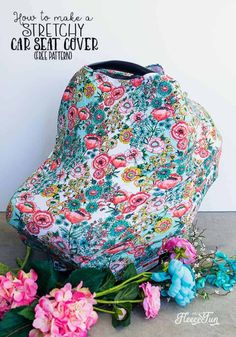 This Stretchy Baby Car Seat Cover Pattern sews up quickly! Car Seat Canopy Pattern, Car Seat Cover Pattern, Nursing Cover Pattern, Baby Girl Car Seats, Best Baby Car Seats, Sewing Patterns Free, Free Sewing, Free Baby Patterns, Sewing Tutorials