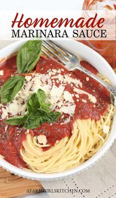 Easy Marinara Sauce, Homemade Spaghetti Sauce, Homemade Tomato Sauce, Homemade Marinara, Homemade Pasta, Best Pasta Sauce Recipe, Sauce Recipes, Crockpot Recipes, Healthy Recipes