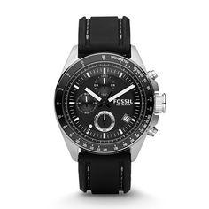 Mens Decker Chronograph Black Silicone Strap Watch