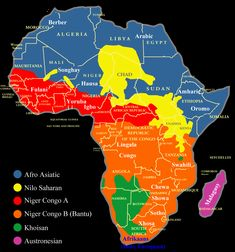 The indigenous languages of Africa are divided into 6 major language families: Afroasiatic, Nilo Saharan, Niger-Congo A, Niger-Congo B (Bantu), Paises Da Africa, North Africa, West Africa, African Culture, African History, African Origins, Languages Of Africa, World Languages, Les Continents