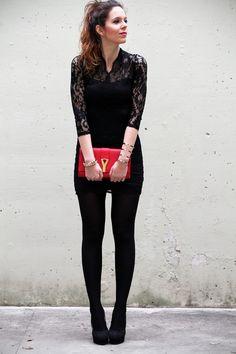 #fashion #fashionista Irene tubino pizzo nero borsa ysl yives saint laurent rossa minigonna gambe lunghe
