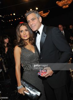Actors Salma Hayek and honoree George Clooney attend The 2013 BAFTA LA Jaguar Britannia Awards at The Beverly Hilton Hotel on November 9, 2013 in Beverly Hills, California.