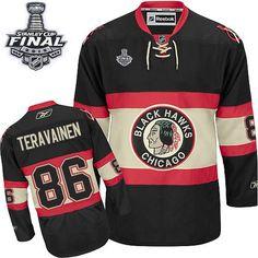 8aa46c40b Men s Niklas Hjalmarsson Authentic Black Jersey  Reebok NHL Chicago  Blackhawks New Third