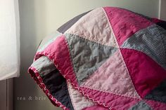 SALE Equilateral Triangle Quilt Bright Happy Colors Bubble Gum Pink Charcoal Gray Steel Grey for Baby Toddler Teen Lap Quilt Throw or Prop Geometric Quilt, Triangle Quilts, Baby Girl Quilts, Big Girl Rooms, Bubblegum Pink, Happy Colors, Grey Fabric, Girl Nursery, Pink Grey