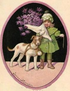 New Year Flower Girl With Dog - Jenny Nystrom