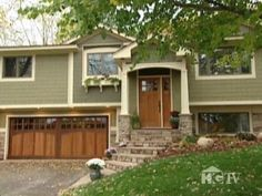 Raised Ranch Makeovers | Exterior Home Makeover: Split Level Home with Craftsman ... | For My ...