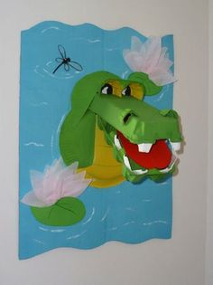 crocodile 3d no instructions but looks like construction paper, an egg carton, paper plate and tissue paper