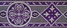Jacquard Trim. Medieval, Golthic Style. Purple & Silver