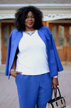 plus size fashion for women : Blue pants suit #blue #Blazers