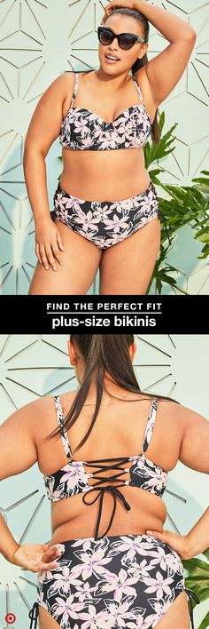 Hit the perfect balance of feminine and edgy with a bikini in a black-based floral print. This plus-size suit's high-waist bottoms are flattering and feature lace-up sides, and the top's adjustable, lace-up back adds an extra layer of support and comfort.