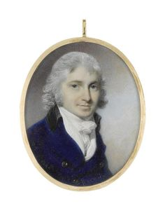 George Engleheart (British, 1750-1829) A Gentleman, wearing blue coat with black collar, white waistcoat, chemise, stock and tied cravat, his hair powdered
