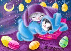 ACEO ORIGINAL PAINTING  CAT  KITTEN  EASTER  EGGS    by Evgenya #Miniature