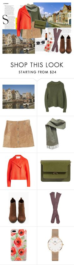 """Ghent"" by monijerez ❤ liked on Polyvore featuring MANGO, Moschino, Harris Wharf London, Marni, Shoe Cult, Free People, Casetify, Daniel Wellington, Maybelline and Valentino"