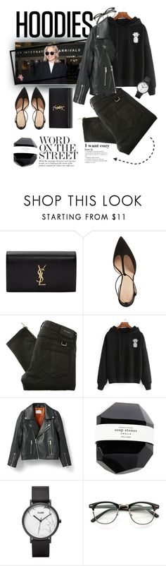 """""""Cozy hoodie"""" by kallimanis ❤ liked on Polyvore featuring Yves Saint Laurent, Tory Burch, Belstaff, Ganni, CLUSE and Hoodies"""