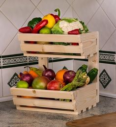 2 tier Wall Mountable Wooden Vegetable fruit food storage rack Classic