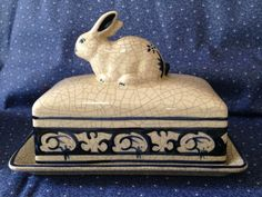 Dedham Pottery Bunny Rabbit Ceramic Butter Dish Blue & White Signed