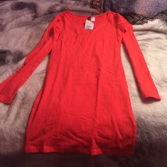 H&M dress Iong sleeve tight fit brand new with tag color bright salmon size 6 cotton material H&M Dresses Long Sleeve