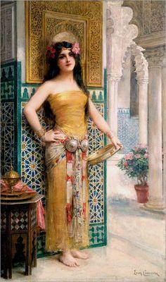 Oriental lady with tambourine - Léon-François Comerre Classic Paintings, Beautiful Paintings, Mode Poster, Arabian Art, Pre Raphaelite, Classical Art, Renaissance Art, Islamic Art, Aesthetic Art