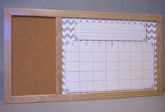 Whiteboard Calendar & Cork Board - Gray Chevron Monthly Planner / Pin Board - Large Framed Dry Erase Board Organizer - Family Command Center