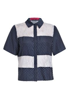 Amy Polka Dot + Lace Short Sleeve Boxy Shirt at boohoo.com