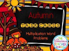 Autumn Task Cards Freebie ~ Multiplication Word Problems (Grades 3-4) www.thevivaciousteacher.com