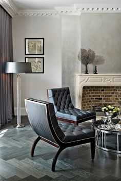 Transitional Living Room Design Ideas, Pictures, Remodel and Decor . .i say yes to metallic paper!!!