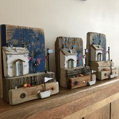 More little Harbourmaster cottages,I'm on a roll #harbour #driftwood #driftwoodart #rustic #rusticart #nautical #sea #seaside #seagulls #summer #sun #handmade #littlehouse #littlecottage #wood#bunting #shabbychic #shabbydaisies #lorainespick #cottage #coast