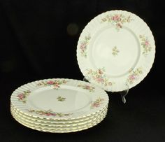 6 Royal Albert Moss Rose 27cm Dinner Plates 1st Quality VGC